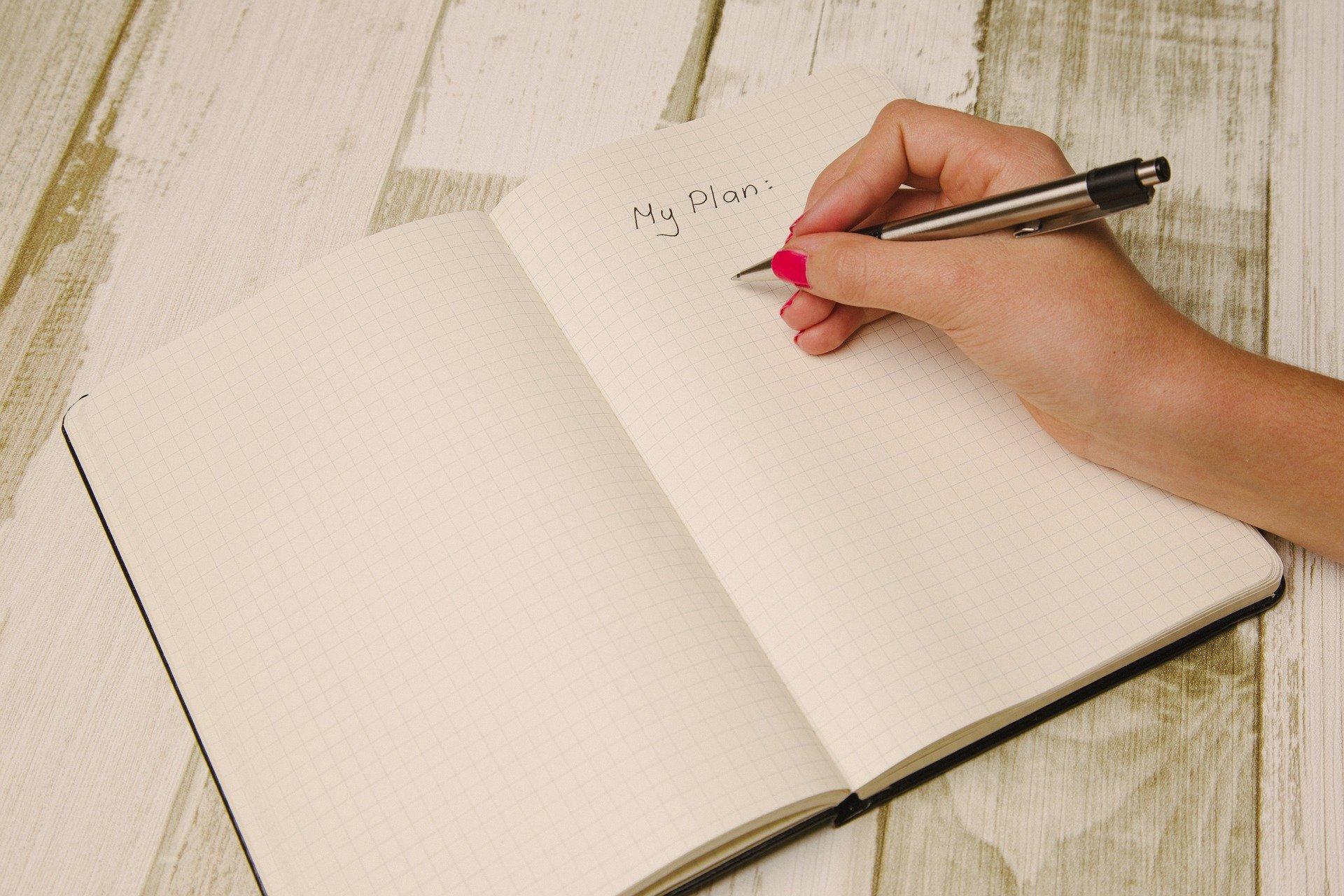 Notesbog med plan