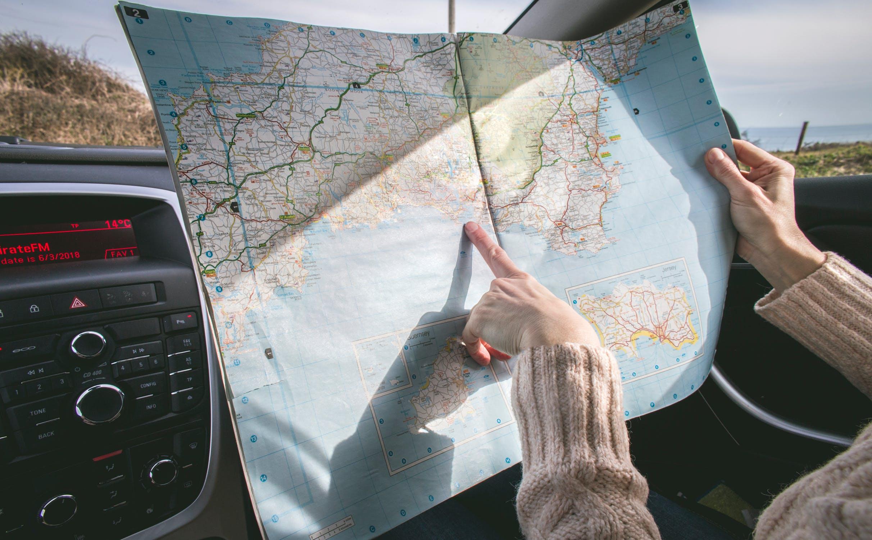 Kort på bilrejse